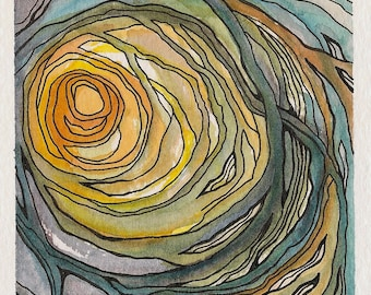 ORIGINAL | Thicket | Abstract Watercolor Painting | Nature Line Drawing | Orange, Yellow, Blue, Green + Purple
