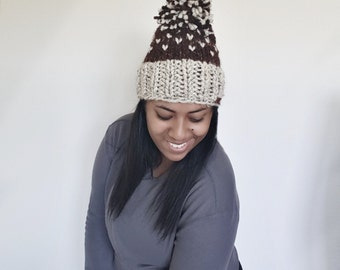 Fair Isle Knit Slouchy Beanie Hat With Large Pompom//THE TRAVELER HAT//Sequoia and oatmeal