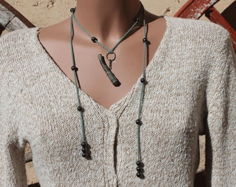 Extra fine merino wool necklace, Hematite and piece discovered with a metal detector