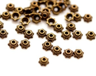 50 x Bead Caps 5 mm Bronze color