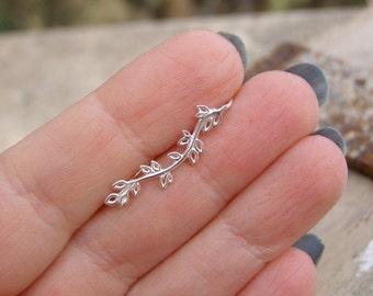 Silver  Ear Crawler earring , Ear climber earring , Ear Jacket, Vine silver  Ear Jacket ,  silver Leaf Earring