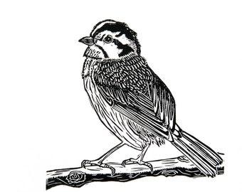 Bird on Branch (Original Linocut Print)