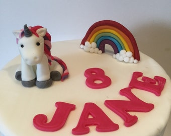 Personalised Edible Unicorn & Rainbow set Cake Toppers.