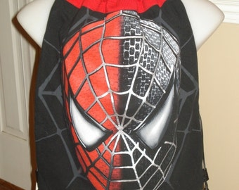 SPIDERMAN DRAWSTRING BAG made from upcycled tee shirts