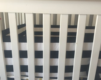 Black and white stripe crib bumper | modern baby bumpers | black and white crib bedding | modern nursery | baby bumper pads |