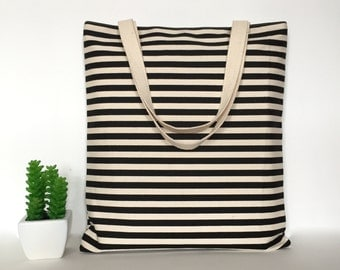 Stripe Canvas Tote Bag, Stripe Tote Bag, Minimalist Canvas Tote Bag, School Tote Bag, Casual Tote bag, Canvas Bag, Tote Bag Canvas, Tote bag