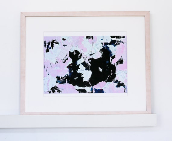 Modern Abstract Painting - pink and black abstract