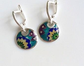 Cloisonne enamel Earrings Fine silver,