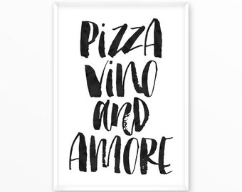 Pizza Print, Vino, Kitchen, Food, motivational, scandinavian Poster, printable, Typography, Poster, Inspirational Home Decor, wall art