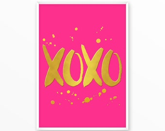 xoxo Print, gold, pink, printable, art, digital, Typography, Poster, Vintage, Grunge,Inspiration Home Decor, Screenprint, wall art, gift