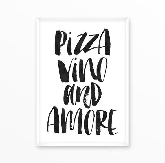 pizza druck wein liebe essen poster k che skandinavische. Black Bedroom Furniture Sets. Home Design Ideas