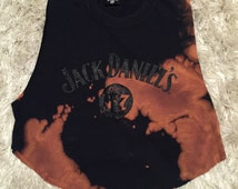 Vintage Jack Daniel's Tennessee Whiskey Old No. 7 brand hand distressed acid wash cropped tank top with embossed logo women's size M/L