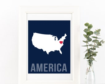 America Home Print – Custom America Print, America Wall Art, USA Home Print