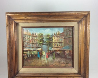 Vintage oil painting people landscape buldings  frame 16in. x 14in.