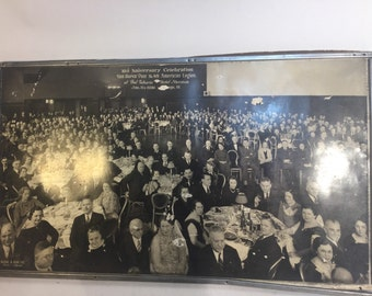 Vintage 10th anniversary celebrationan Van Buren post photograph. Black & white hotel Shermn Jan. 11th 1936 Chicago