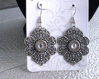 Silver Dangle Earrings with 9mm Bullet Casing