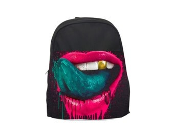 Personalized Pink Lips KIds Backpack/LunchBag/Pencil Case