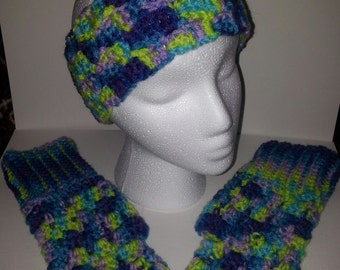 colorful ear warmer and fingerless  glove  set