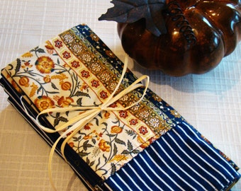 Cloth Dinner Napkins - Set of 8 / Reversible / Fall, Thanksgiving / Gold Navy Multi Color / Machine Washable