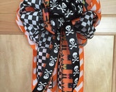 "Halloween Witches and Skeletons Gift Bow for Gift Box, Gift Basket, Wreath, Door or Wall Hanging in Orange, Black and White - 6"" x 11 1/2"""