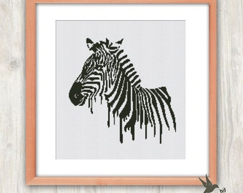 Zebra Cross Stitch Pattern, abstract animal cross stitch pattern, modern crossstitch pattern, blackandwhite crossstitch pattern, needlecraft