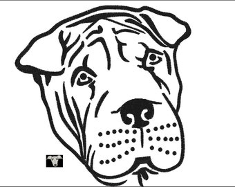 Shar Pei Dog Embroidery Designs in 5 sizes