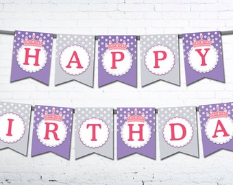 Princess Birthday Banner - PRINTABLE (Instant Download)