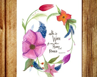 Proverbs 31- Watercolor Illustration Print