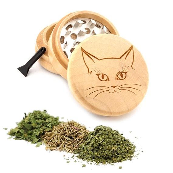 Cute Cat Engraved Premium Natural Wooden Grinder Item # PW050916-76