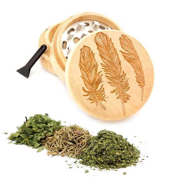 Peacock Feather Engraved Premium Natural Wooden Grinder Item # PW050916-104