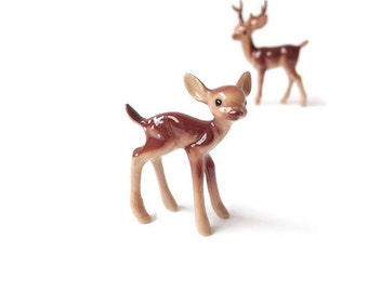 Miniature ceramic deer, deer figurine, doe, fairy garden, fairy garden supplies, fairy garden animal, miniature garden, deer with antlers,