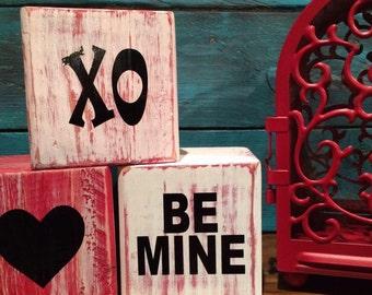 distressed shabby Valentine Valentine's Day blocks conversation heart blocks be mine blocks happy Valentine's Day blocks