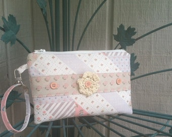 Shabby Chic Clutch Wristlet or Makeup Cosmetic Bag in Pastel Colors