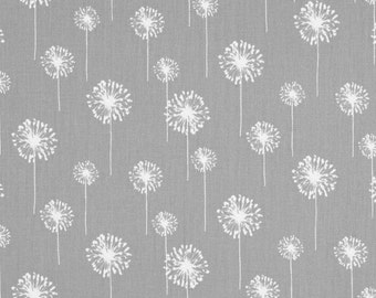 Premier Prints Cotton Fabric, Small Grey Dandelion Fabric