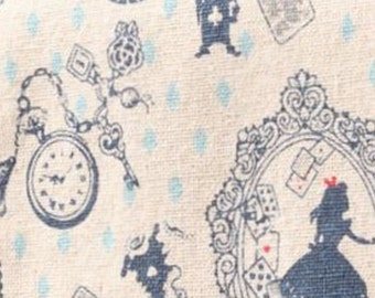 Fabric Cotton Quilt Alice in Wonderland Patchwork Sewing Quilting Craft New