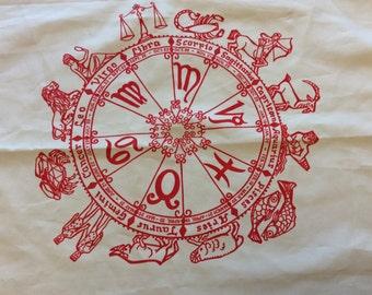Vintage 70s Zodiac - Aquarius Scarf Handkerchief (A768)