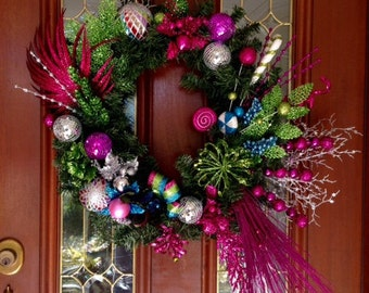 Christmas Wreath Hot Pink