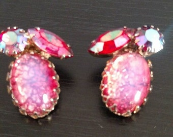 Vintage Coro pink jeweled Clip Earrings