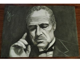 Godfather Vito Corleone original charcoal drawing A3 42x30cm / 16 × 12 ""