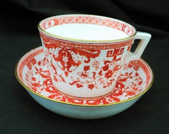 Antique Minton china c.1890 art deco rust orange greek key tea cup and saucer