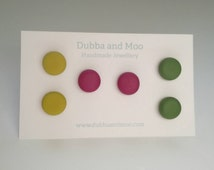 Khaki olive, burgundy maroon, citrus mustard lime yellow studs handmade retro polymer clay earrings set of 3