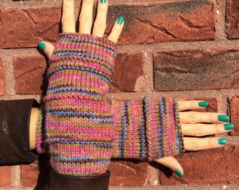 Handmade Fingerless Gloves Beautiful Multicolors Mittens Warm Crazy READY TO SHIP