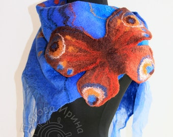Felted scarf Chocolate Butterfly  Lilac   felt wool nuno felted scarf,eco felted shawl, nunofelted wool scarf, artistic silk