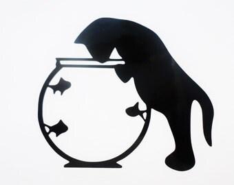 Cat vinyl decal MacBook decal Cat sticker Laptop sticker Laptop decal  Cat and Fish decal Black cat sticker