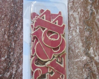 Vintage Wood Alphabet Chipboard Letters - Strawberry