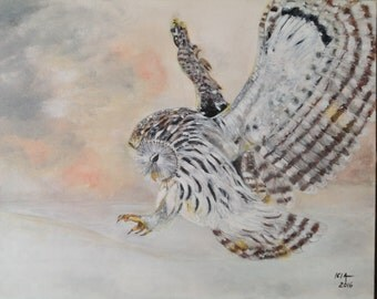 Owl flying acrylic painting