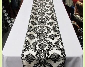 "Table Runner Damask Flocking Taffeta 4 Pcs. 14.5"" X 108"" Wedding Party Decorations - Ivory / Black"