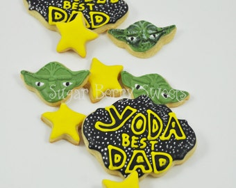 Father's Day Star Wars Cookies - 1 Dozen - sugar cookies - Yoda Best Dad - scifi - the force -perfect gift for him - funny - best gift