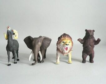 Plastic Toy Wild Animals Lion Elephant Ram Bear