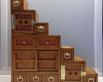 Japanese Tansu Miniature Step Cabinet